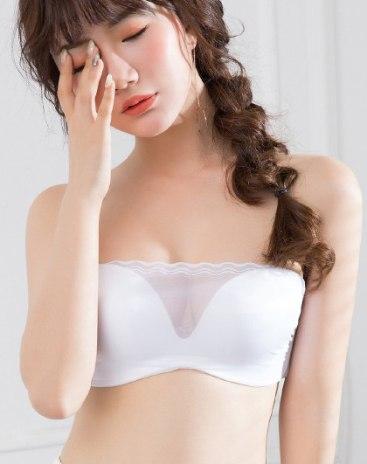 White Spandex(Lycra) Strapless Women's Bra
