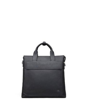 Black Plain Cowhide Leather Big Men's Business Case