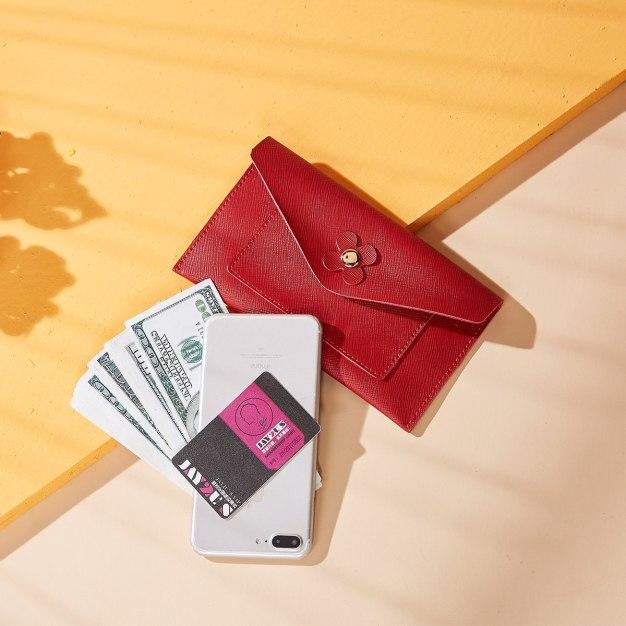 Red Plain Purse(Long) Medium Women's Wallet