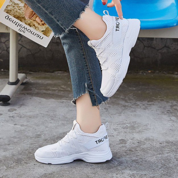 White Round Head Internal Heighten Women's Sport Shoes