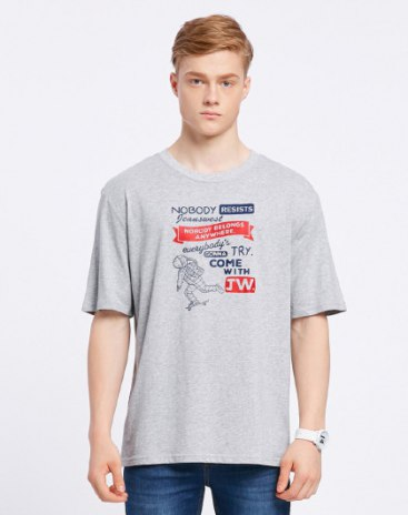 Gray Round Neck Short Sleeve Loose Men's T-Shirt