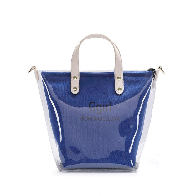 Blue Pvc Jelly Bag Big Women's Tote