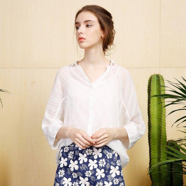 White Plain V Neck Single Breasted Half Sleeve Women's Shirt