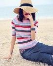 Stripes Square Neck Elastic Half Sleeve Women's Knitwear