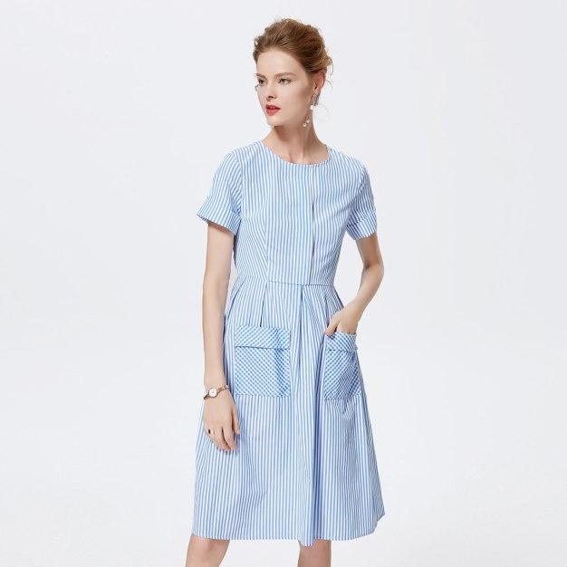 Others1 반팔 티셔츠 A라인 여성 드레스