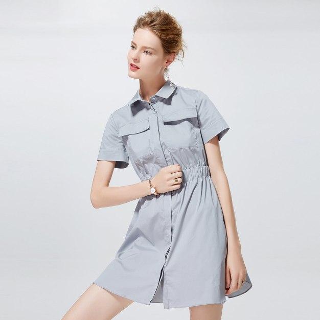 그레이 반팔 티셔츠 A라인 여성 드레스
