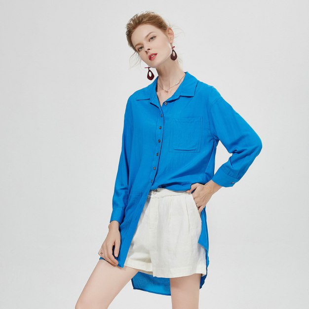 블루 긴소매 랩스커트 여성 드레스