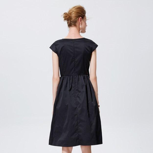 청색 반팔 티셔츠 A라인 여성 드레스