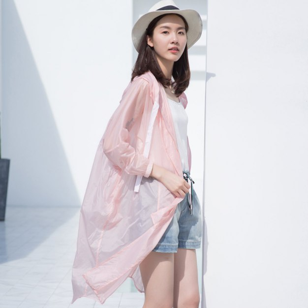 Pink Plain Cropped Sleeve Loose Women's Outerwear