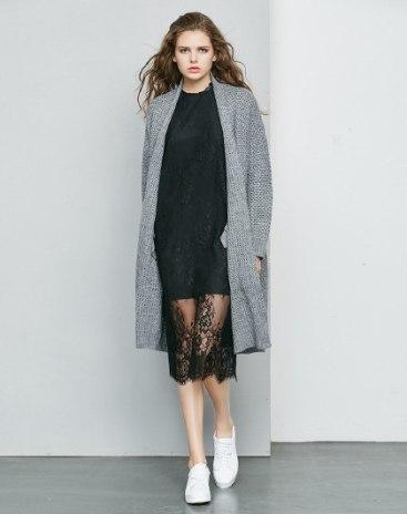 Gray Plain Collarless Long Sleeve Loose Women's Knitwear