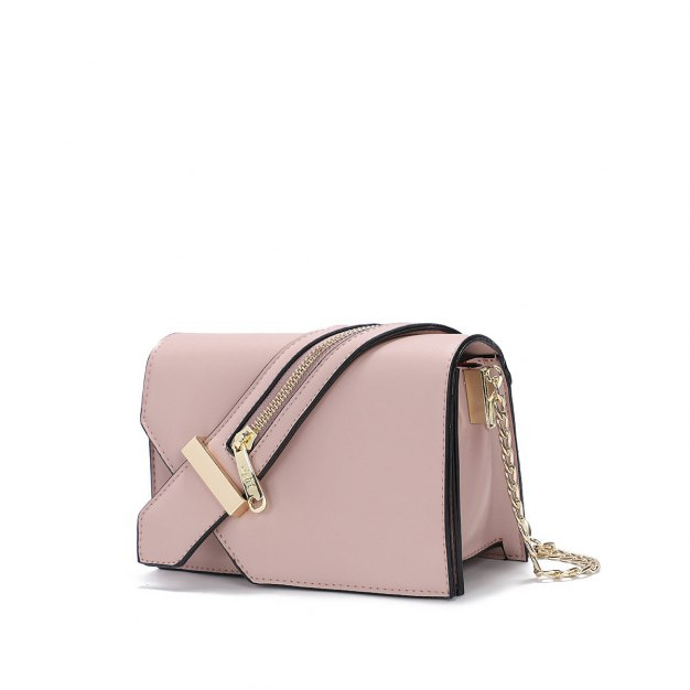 Pink Plain PU Organ Bag Small Women's Crossbody Bag