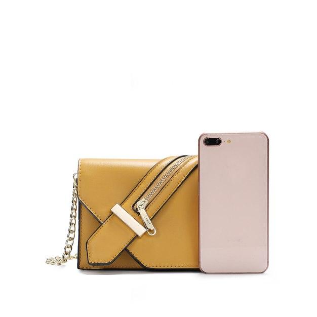Yellow Plain PU Organ Bag Small Women's Crossbody Bag