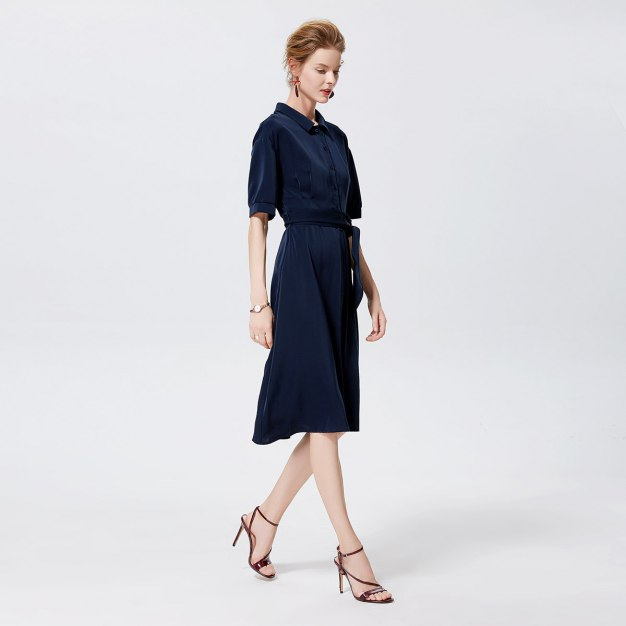 청색 반소매 A라인 여성 드레스