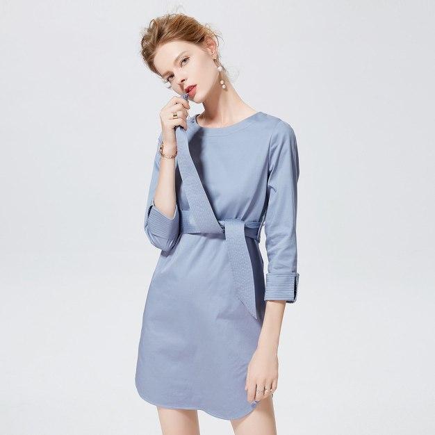 블루 크롭 슬리브 랩스커트 여성 드레스