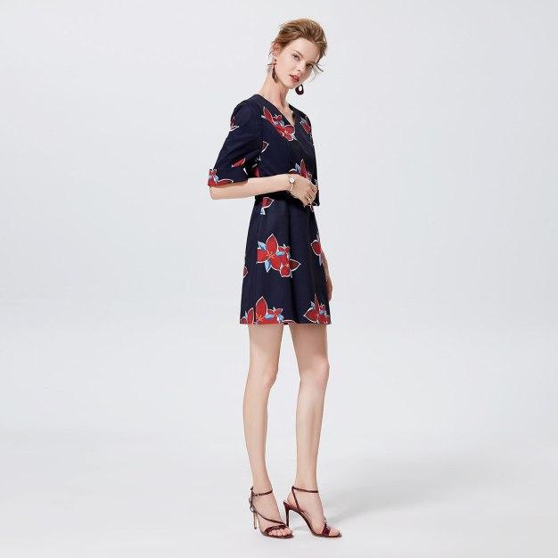 멀티컬러 3/4소매 A라인 여성 드레스