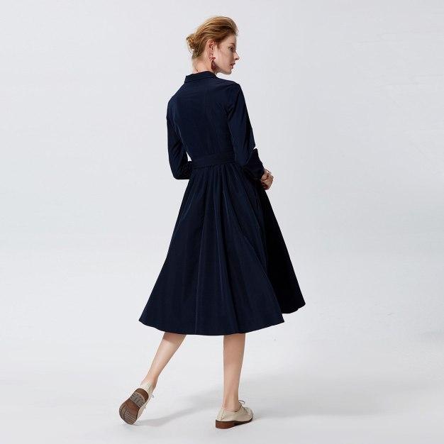 청색 긴소매 A라인 여성 드레스