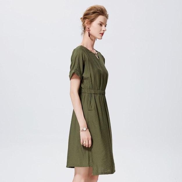 그린 반팔 티셔츠 A라인 여성 드레스