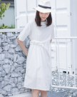 White Round Neck Half Sleeve 3/4 Length Fitted Women's Dress