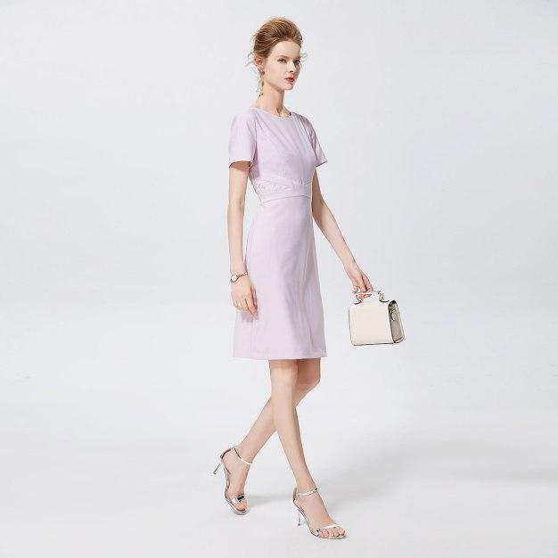퍼플 반팔 티셔츠 A라인 여성 드레스