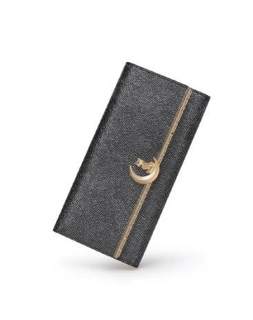Black Plain Cowhide Leather Purse(Long) Small Women's Wallet