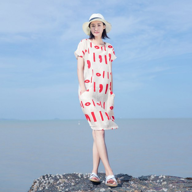 Red Round Neck Short Sleeve 3/4 Length Fitted Women's Dress