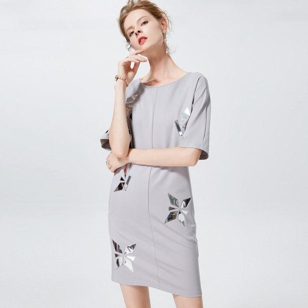 멀티컬러 반소매 랩스커트 여성 드레스