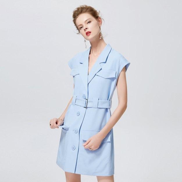 블루 반팔 티셔츠 A라인 여성 드레스