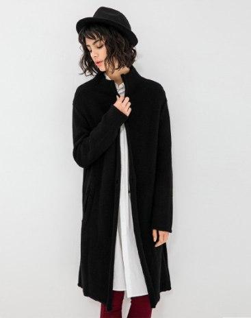 Black Collarless Long Sleeve Standard Women's Sweater