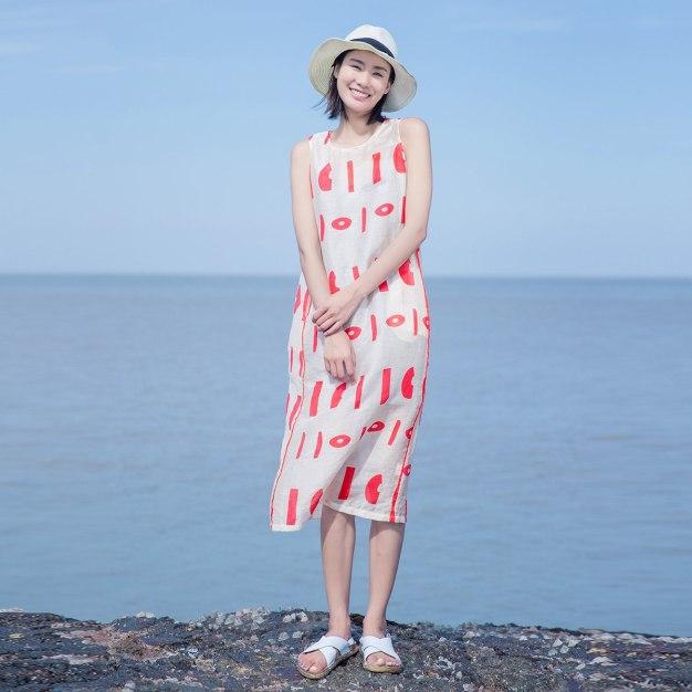 Red Round Neck Sleeveless 3/4 Length Standard Women's Dress