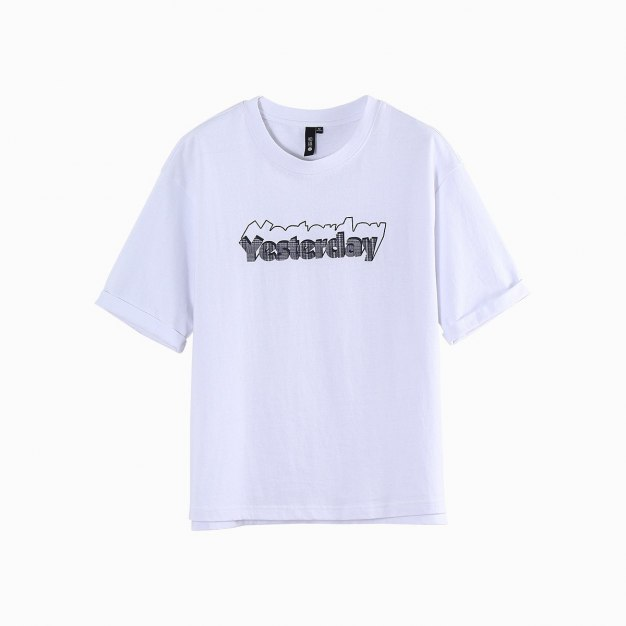 White Round Neck Short Sleeve Loose Women's T-Shirt