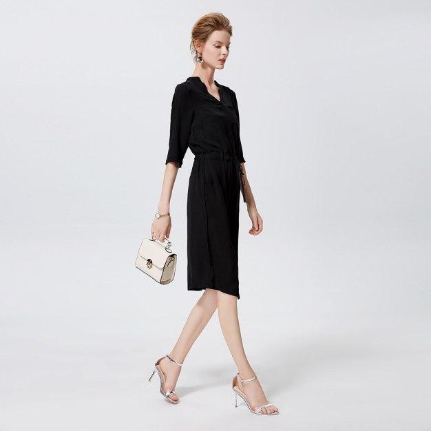 블랙 3/4소매 랩스커트 여성 드레스