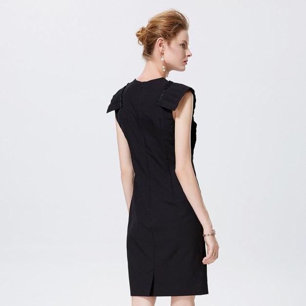 블랙 민소매 랩스커트 여성 드레스