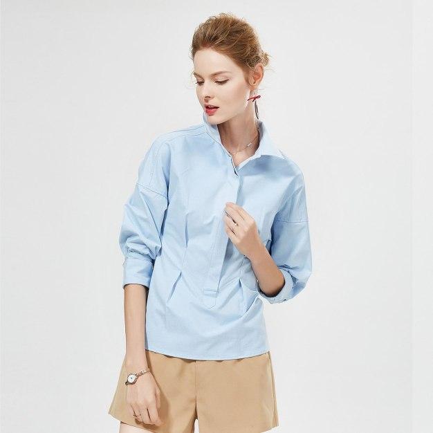 블루 단색의 긴소매 표준 여성 블라우스