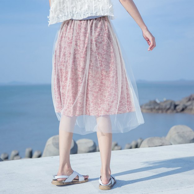 Red 3/4 Length Women's Skirt