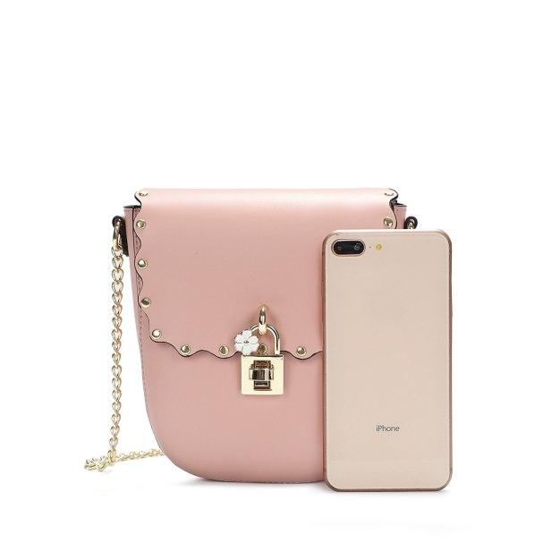 Pink Plain Pvc Saddle Bag Small Women's Crossbody Bag