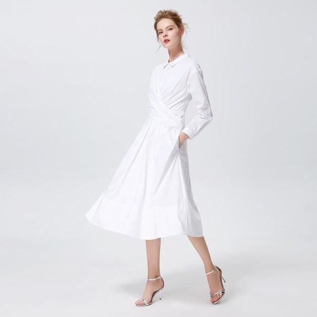 화이트 긴소매 A라인 여성 드레스
