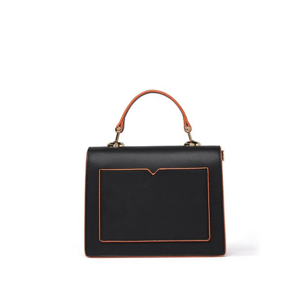 Black Cowhide Leather Organ Bag Small Women's Tote