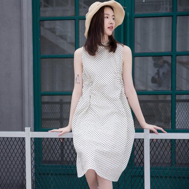 White Sleeveless 3/4 Length Fitted Women's Dress