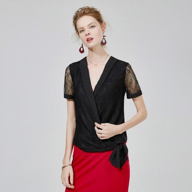 블랙 단색의 반팔 티셔츠 표준 여성 블라우스