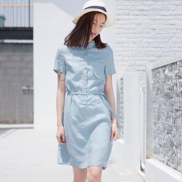 Blue Shirt Collar Short Sleeve 3/4 Length Women's Dress