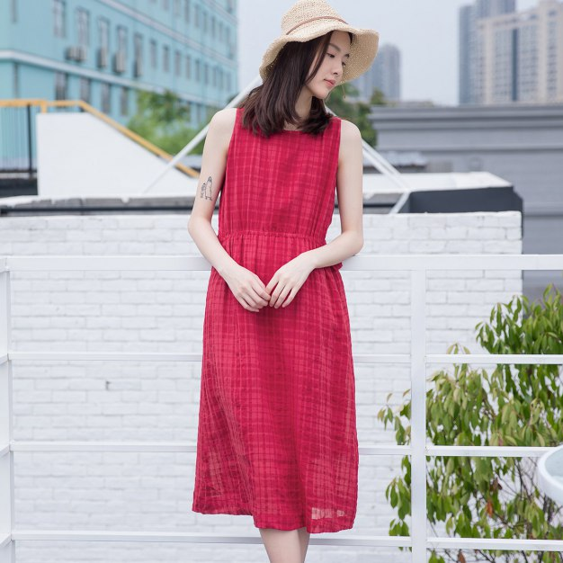 Red Round Neck Sleeveless 3/4 Length Fitted Women's Dress