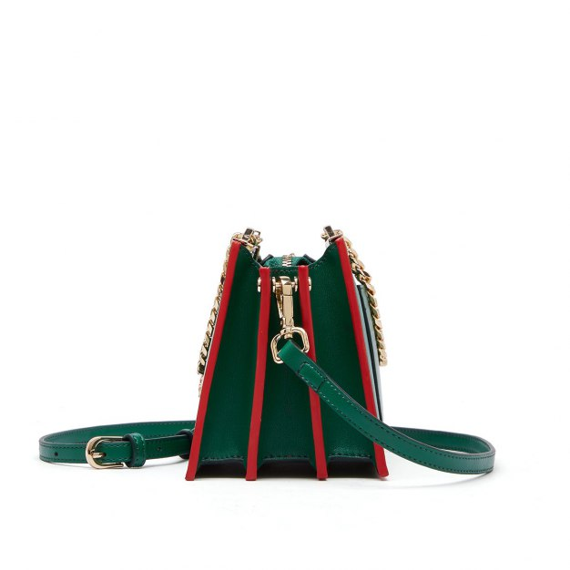 Green Cowhide Leather Organ Bag Small Women's Crossbody Bag