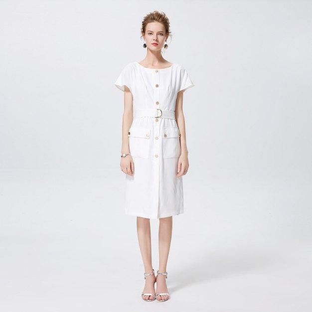 화이트 반팔 티셔츠 랩스커트 여성 드레스