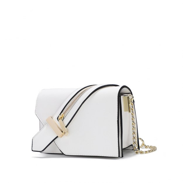 White Plain PU Organ Bag Small Women's Crossbody Bag