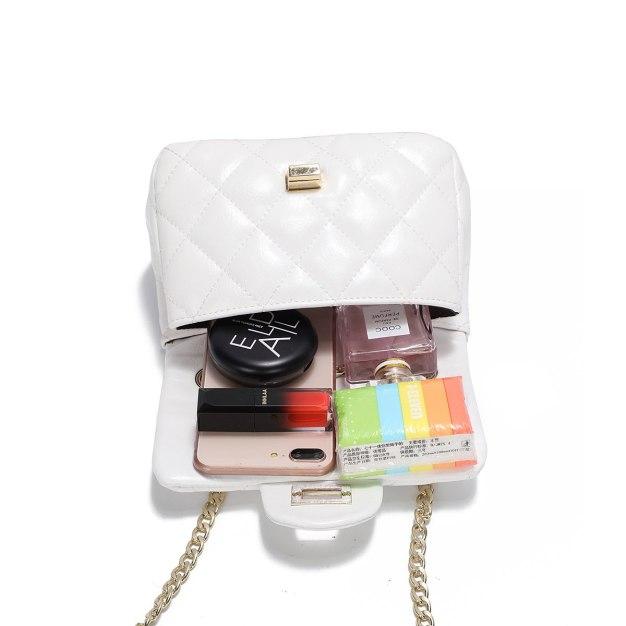 White Plain PU Purse Small Women's Crossbody Bag