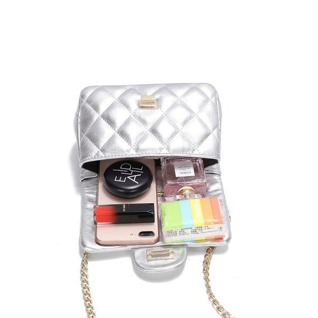 Silver Plain PU Purse Small Women's Crossbody Bag