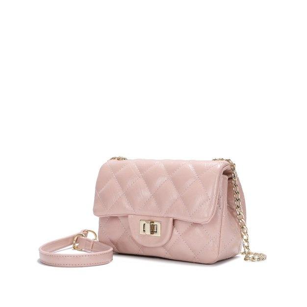 Pink Plain PU Purse Small Women's Crossbody Bag