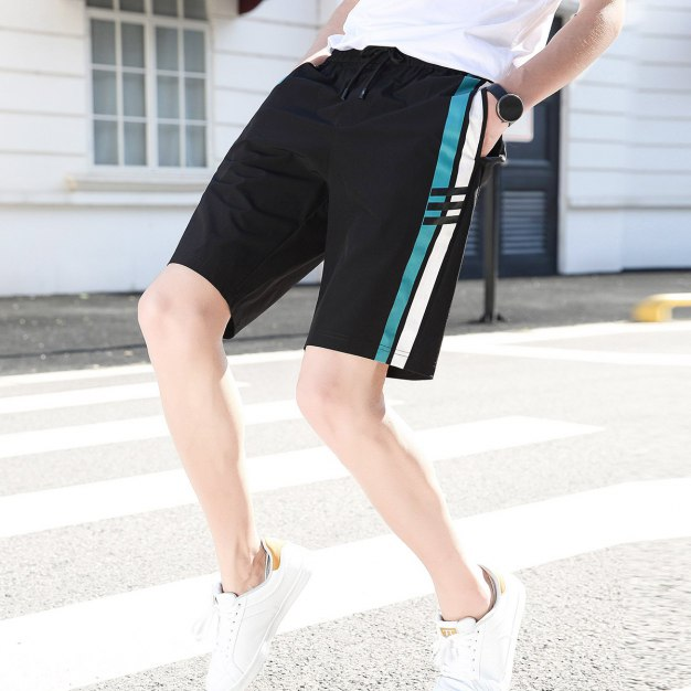 Black Drawstring Light Elastic Loose CroppedPants Men's Pants