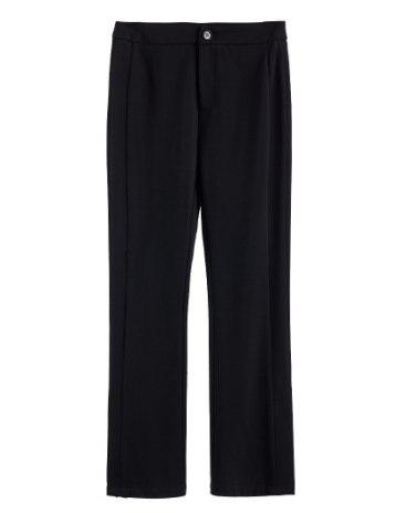 Black Basic Zipper Fly Cropped Women's  Pants