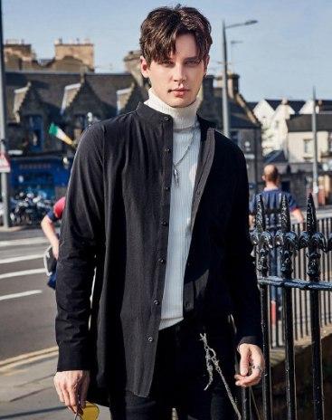 Black Plain Stand Collar Long Sleeve Loose Men's Shirt